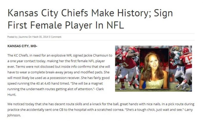 "An article saying that the Kansas City Chiefs signed Lebanese Alpine skier ""Jackie Chamoun"" to the team isn't real."