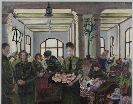 """""""Canteen, Nijmegen, Holland"""" by Molly Lamb Bobak, Beaverbrook Collection of War Art. (© Canadian War Museum)"""