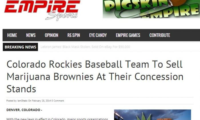 The Colorado Rockies will not be selling marijuana brownies at games. (Screenshot / Empire Sports)