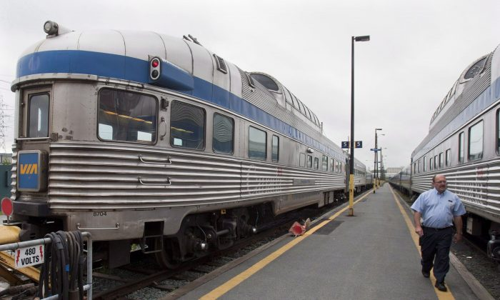 The Ocean, Via Rail's Halifax-to-Montreal passenger train, sits at the station in Halifax in June 2012. Transportation groups are urging Ottawa to play a greater role in public transportation. (The Canadian Press/Andrew Vaughan)