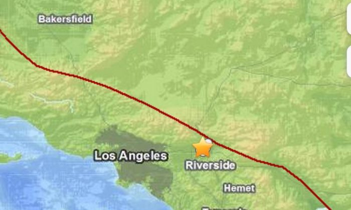 A 2.7 earthquake hit near Fontana today. (Screenshot USGS)
