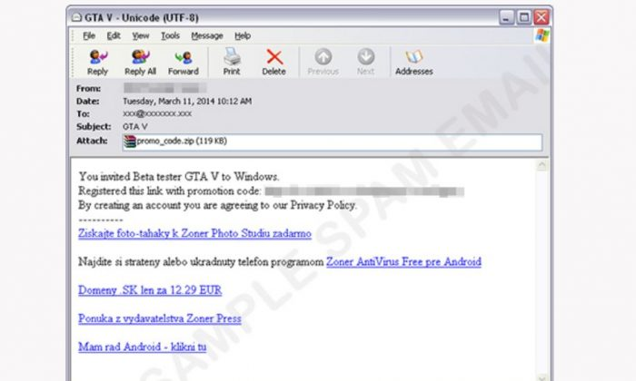 """""""Grand Theft Auto V"""" for the PC has not been commented on by RockStar and yet there's a scam email campaign claiming there's a """"GTA V"""" beta test. (Trend Micro screenshot)"""