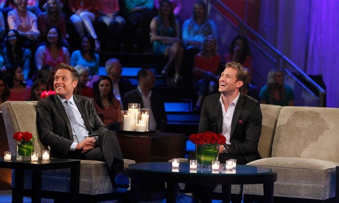 "This season's ""The Bachelor"" Juan Pablo, right, and host Chris Harrison. (ABC)"