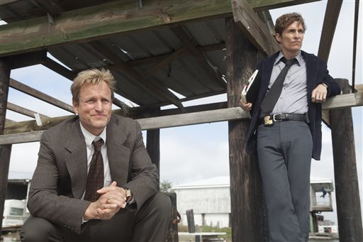 "This image released by HBO shows Woody Harrelson, left, and Matthew McConaughey from the HBO series ""True Detective."" (AP Photo/HBO, Jim Bridges)"