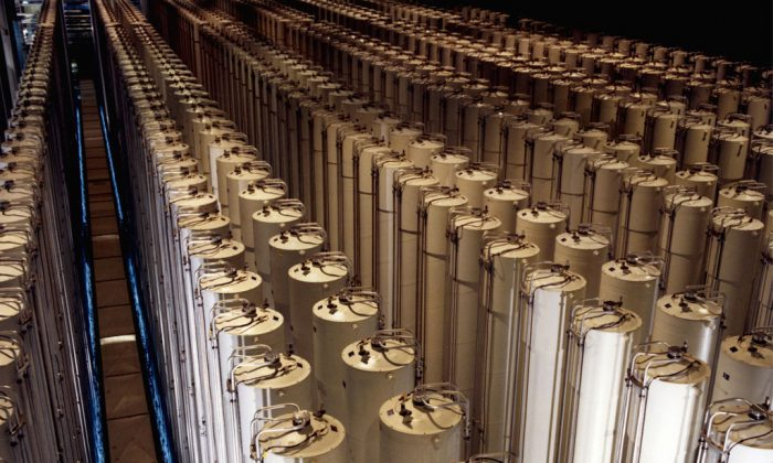 Cascades of gas centrifuges are used to enrich uranium ore to concentrate its fissionable isotopes. (Wikimedia Commons)