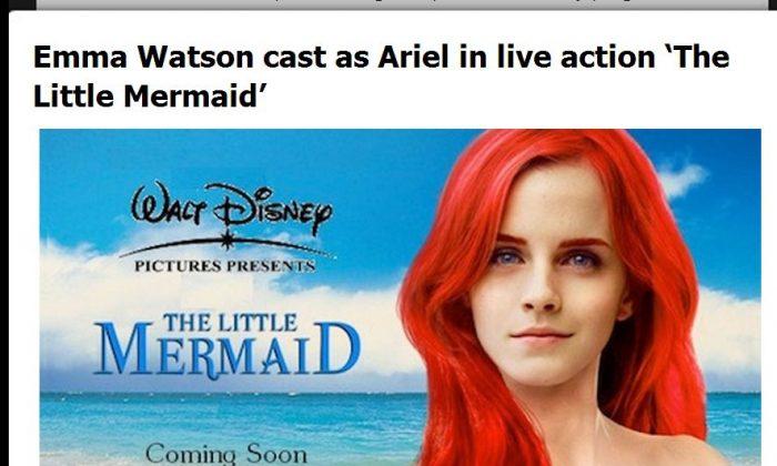 """Emma Watson won't play as Ariel in """"The Little Mermaid"""" (Screenshot of MuggleNet)"""