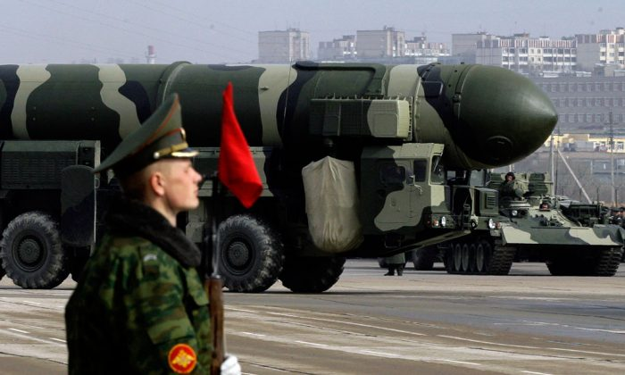Russian Topol-M intercontinental ballistic missile is displayed during a Victory Day parade rehearsal on April 24, 2009 in Alabino, outside Moscow, Russia. (Dmitry Korotayev/Epsilon/Getty Images)