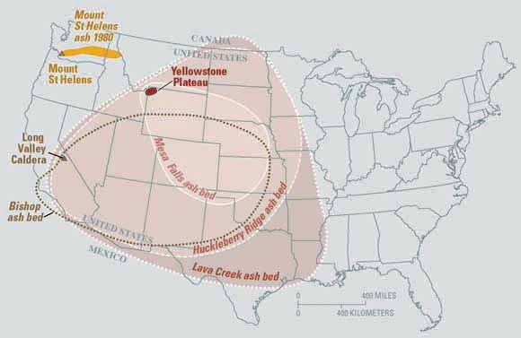 """This map from the U.S. Geological Service shows the range of the volcanic ash that was deposited after the biggest of the Yellowstone National Park eruptions around 2.1 million years ago. """"These eruptions left behind huge volcanic depressions called 'calderas' and spread volcanic ash over large parts of North America,"""" it said. """"If another large caldera-forming eruption were to occur at Yellowstone, its effects would be worldwide. Thick ash deposits would bury vast areas of the United States, and injection of huge volumes of volcanic gases into the atmosphere could drastically affect global climate. Fortunately, the Yellowstone volcanic system shows no signs that it is headed toward such an eruption in the near future. In fact, the probability of any such event occurring at Yellowstone within the next few thousand years is exceedingly low."""""""
