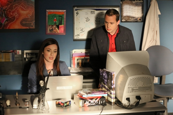 After returning to her job at the Department of Defense, McGee's girlfriend Delilah (Margo Harshman, left) finds a break in a controversial case, prompting her to turn to the NCIS team for help. Meanwhile, McGee (Sean Murray, right) talks to DiNozzo about whether he should ask Delilah to move in, on NCIS, Tuesday, April 8 (8:00-9:00 PM, ET/PT) on the CBS Television Network. (Robert Voets/CBS ©2014 CBS Broadcasting, Inc. All Rights Reserved)