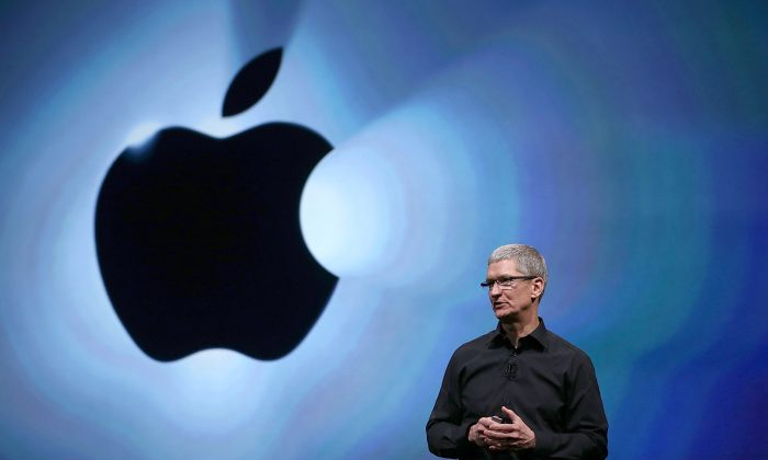 Tim Cook speaks during an Apple special event. (Justin Sullivan/Getty Images)