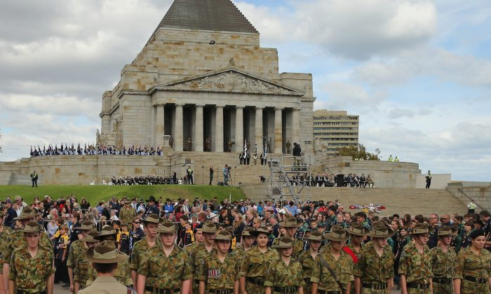 A general view during the annual Anzac Day march at the Shrine of Remembrance on April 25, 2013 in Melbourne, Australia. (Scott Barbour/Getty Images)