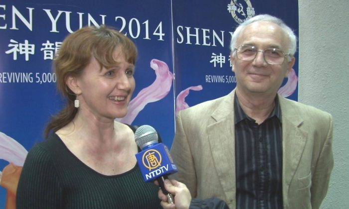 Marianna Simina and husband her, Gregory, at the Koger Center for the Arts after seeing the world-class Shen Yun Performing Arts. [Courtesy of NTD Television]
