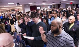 Secretary of Homeland Security Swears in 150 New Citizens