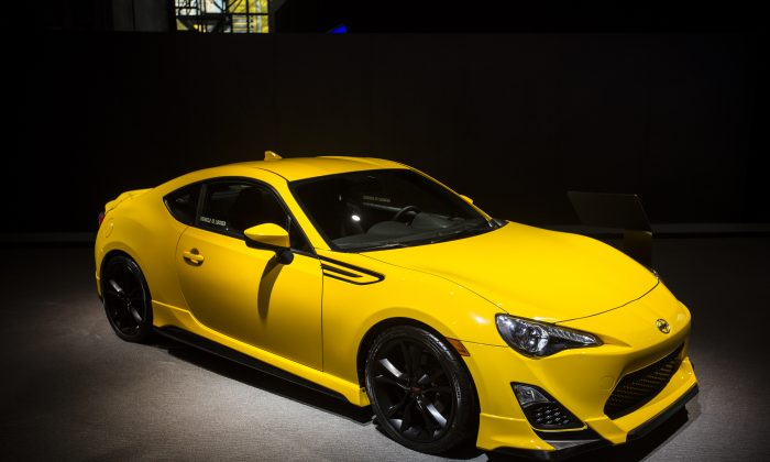 The Scion FR-S on display during the first press preview day at the 2014 New York International Auto Show April 16, 2014 in New York at the Jacob Javits Center. (Edward Dai/Epoch Times)