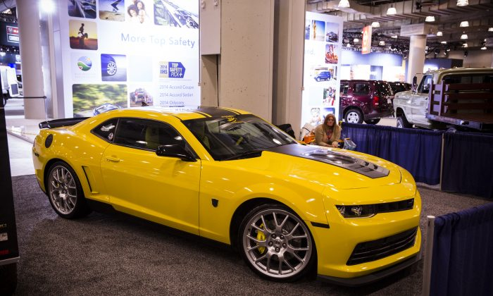 The Chevrolet Camaro on display during the second press preview day at the 2014 New York International Auto Show April 17, 2014 in New York at the Jacob Javits Center. (Edward Dai/Epoch Times)