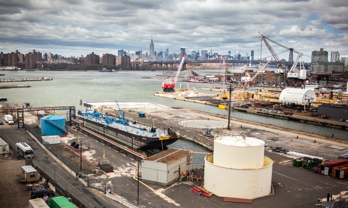 The Brooklyn Navy Yard on April 23, 2014. Formerly a naval yard, the site is still one of the city's two ship repair sites. (Petr Svab/Epoch Times)