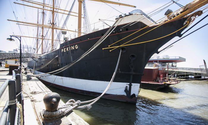 The clipper ship Peking at Pier 16 in New York on April 24, 2014. (Samira Bouaou/Epoch Times)