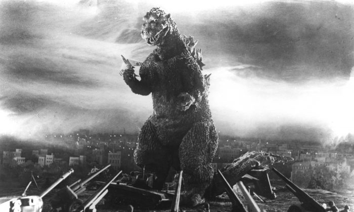 "Godzilla, rendered using ""suitmation,"" is still plenty frightening 60 years later. (Courtesy of Rialto Pictures/Toho Co. Ltd.)"