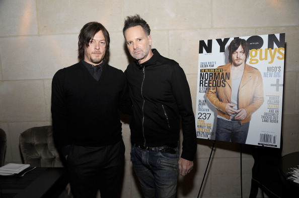 Norman Reedus (L) and NYLON editor-in-chief Marvin Scott Jarrett attend NYLON Guys February/March Issue Event, Hosted By Norman Reedus at Manon on February 10, 2014 in New York City.  (Photo by Gary Gershoff/Getty Images for NYLON)