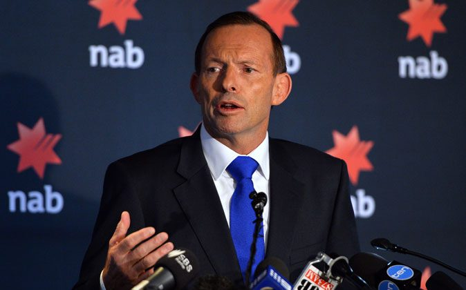 Australia's Prime Minister Tony Abbott speaks at the National Australia Bank's 2014 Reconciliation Action Plan launch in Sydney on February 20, 2014. (Saeed Khan/AFP/Getty Images)