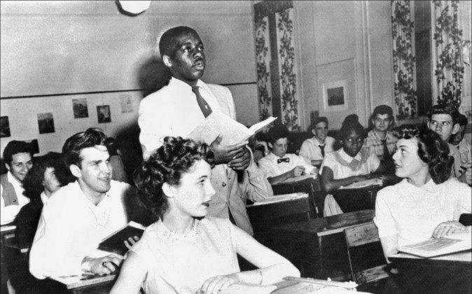 A black student, Nathaniel Steward, 17, recites his lesson May 21, 1954, at the Saint-Dominique school, in Washington, where for the first time in USA the Brown v Board of Education decision which outlaws segregation in state schools is applied. In Tuscaloosa, Ala., today, nearly one in three black students attends a school that looks as if Brown v. Board of Education never happened. (Staff/AFP/Getty Images)