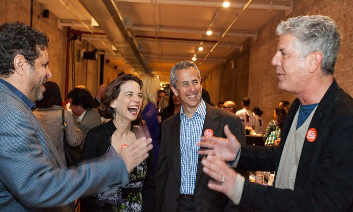 (L–R) Jeffrey Chodorow, Dana Cowin, Danny Meyer, and Anthony Bourdain at last year's Taste of the Nation NYC. (Courtesy of Share Our Strength)