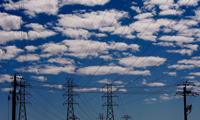 Towers carrying electical lines are shown in this file photo in South San Francisco, Calif. (Justin Sullivan/Getty Images)