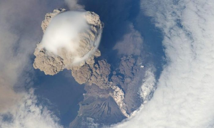 The explosive eruption of Sarychev Volcano, on Russia's Kuril Islands, northeast of Japan, seen from the International Space Station. (NASA Goddard/Flickr, CC BY)