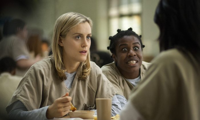 "FILE - This image released by Netflix shows Taylor Schilling, left, and Uzo Aduba in a scene from ""Orange Is the New Black."" Season two debuts on Netflix on June 6, 2014. (AP Photo/Netflix, Paul Schiraldi, file)"