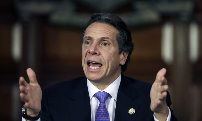 Andrew Cuomo in the Red Room at the Capitol on Monday, Jan. 7, 2013, in Albany, N.Y. (AP Photo/Mike Groll)