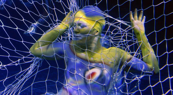 A diver body-painted as a sea creature demonstrates for a cast-off-ban of bycatch on November 3, 2008 at a swimming pool in Berlin's Schoeneberg district. (Michael Gottschalk/AFP/Getty Images)