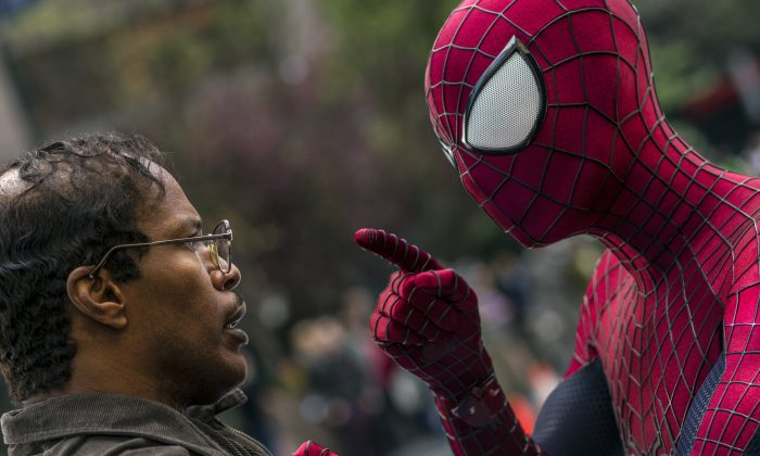 "Jamie Foxx and Andrew Garfield as Spider-Man star in Columbia Pictures' ""The Amazing Spider-Man 2."" (Columbia Pictures)"