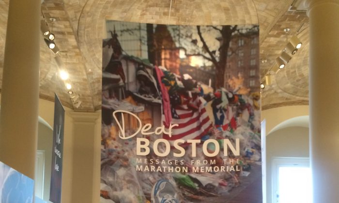 The entrance to the Dear Boston: Messages from the Marathon Memorial exhibit in the central branch of the Boston Public Library in Copley square, just steps from the finish line of the Boston Marathon.  April 18, 2014.  (Phoebe Ryles/Epoch Times)