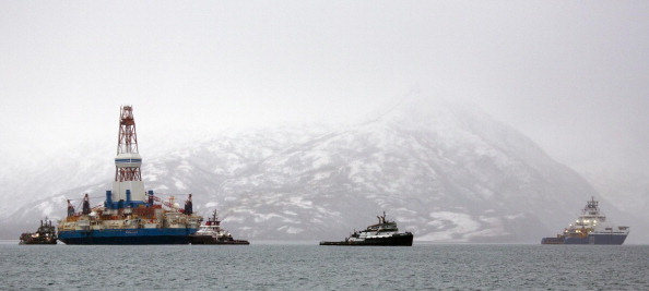 Salvage teams conduct an assessment of Shell's Kulluk drill barge on January 9, 2013 in Kodiak Island's Kiliuda Bay in Alaska. (Tim Aubry/AFP/Getty Images)