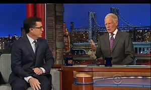David Letterman Chats With Next 'Late Night' Host Stephen Colbert (video)