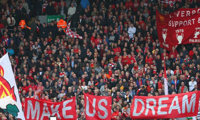 Liverpool fans on the Kop prior to the Barclays Premier League match between Liverpool and Manchester City at Anfield on April 13, 2014 in Liverpool, England. (Alex Livesey/Getty Images)