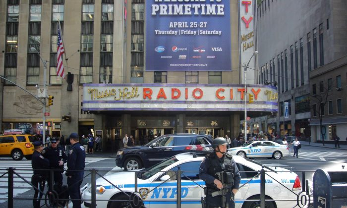 NYPD presence at Radio City Music Hall on the Avenue of the Americas in New York. (Vincent J. Bove)