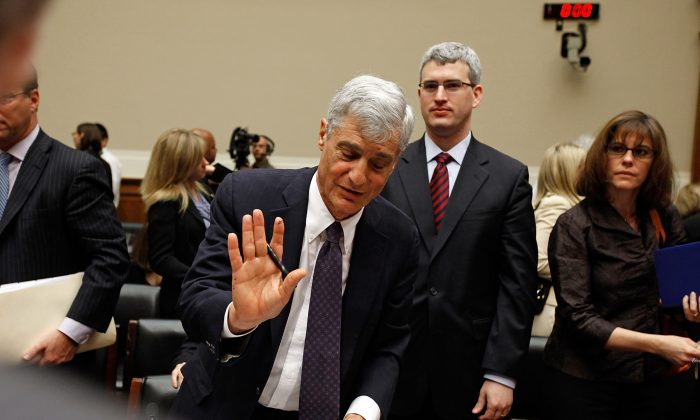 Robert Rubin, former chairman of Citigroup Inc., refuses questions from reporters after testifying before the Financial Crisis Inquiry Commission on Capitol Hill in Washington, D.C., April 8, 2010. (Chip Somodevilla/Getty Images)
