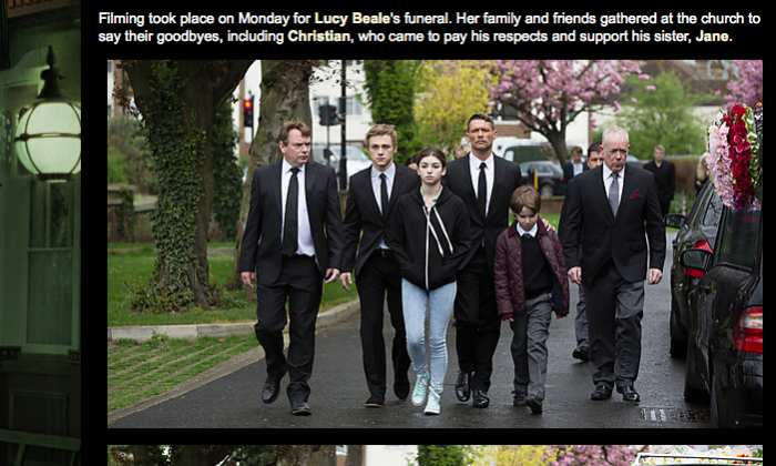 """Screenshot of the """"On location: Lucy's Funeral"""" blog post on the bbc.co.uk website which released photos from the EastEnders episode that will air in May. (bbc.co.uk)"""