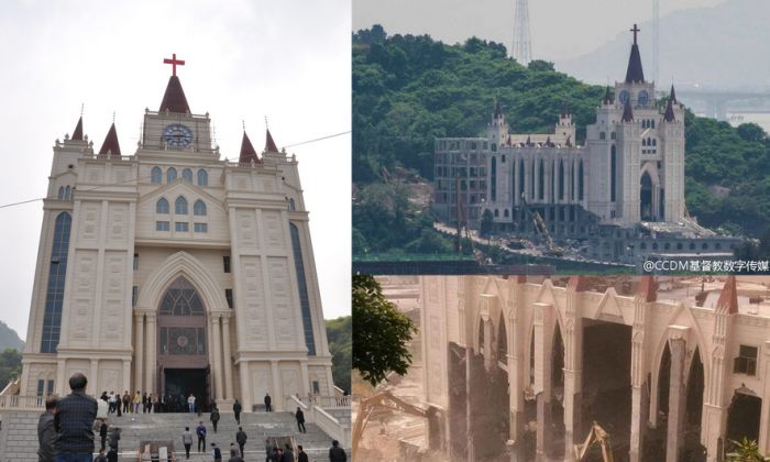 The Sanjiang Church in Zhejiang Province was a target for demolition on April 28. A provincewide plan for urban development targets religious structures, official documents reveal. (via Weibo.com)