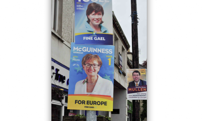Image of election posters in Ashbourne/Ratoath (Martin Murphy/The Epoch Times)