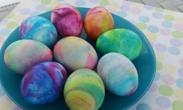 """Walmart will be open, Target will be closed, and Costco is closed, but number of stores will remain open on Easter Sunday, albeit usually with shorter hours. This undated photo provided by A Thrifty Mom shows the use of shaving cream and liquid food coloring to dye hard-boiled eggs which gives them a tie-dyed effect. It's a tactile project most kids will enjoy.  """"Using shaving cream our kids thought it smelled great and had fun at every part of the project!"""" writes Sarah Barrand at her A Thrifty Mom blog. (AP Photo/A Thrifty Mom, Sarah Barrand)"""