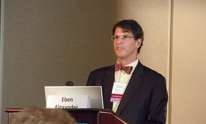 Eben Alexander talked during the International Association for Near-Death Studies (IANDS) conference about his near-death experience and his interpretation of the phenomenon. (Stephanie Lam/The Epoch Times)