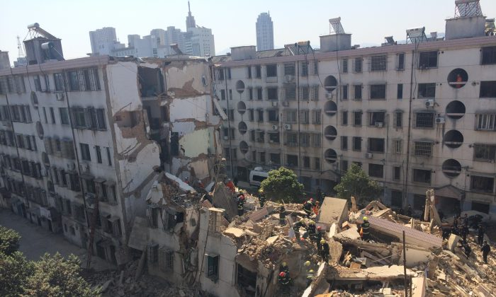 A collapsed residential building in Fenghua city, Zhejiang Province, on April 4, 2014. The Chinese property market is starting to look similar. (ChinaFotoPress via Getty Images)