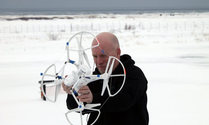 Jeff Ducharme prepares a state-of-the-art DJI Vision 2 drone for flight during a class at the College of the North Atlantic in Stephenville, N.L. (Courtesy Stephen Winsor)