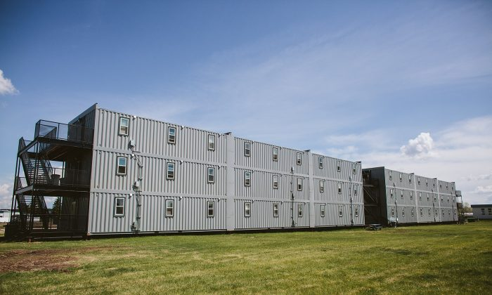 3twenty Modular's 180-person shipping container complex at an airforce base in Cold Lake, Alberta, contracted by the Department of National Defense. The complex was built in 59 days. (Courtesy 3twenty Modular)