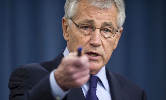US Secretary of Defense Chuck Hagel speaks during a press conference at the Pentagon on March 31, 2014. (Jim Watson/AFP/Getty Images)