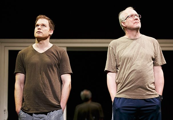 """(L–R) New neighbors John Jones (Michael C. Hall) and Bob Jones (Tracy Letts) stare at the sky in a scene from Will Eno's """"The Realistic Joneses."""" (Joan Marcus)"""