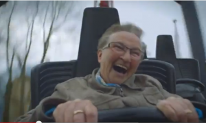 Her Laughter Is Contagious: 78-Year-Old Rides a Roller Coaster for First Time (Video)