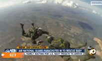 US National Guard Parachutes In to Rescue Baby Stranded With Family